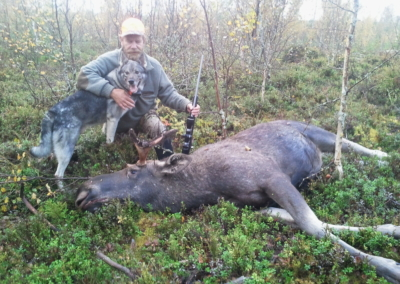 Ulf and Boss after good work with the moose